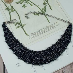 Beaded Cloth Bib Statement Necklace Black Pearl